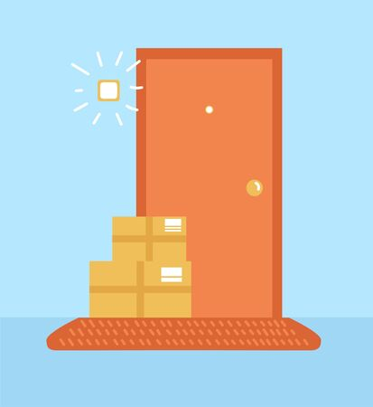 Vector illustration No contact delivery. Apartment entrance and shipping boxes. Order left near the door service. Self isolation and quarantine lifestyle.