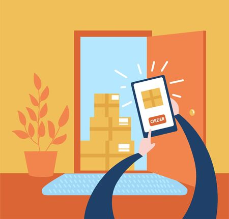 Vector illustration Order no contact delivery. Person makes purchase online and receives the boxes near apartment door. Non-contact express delivery service. Self isolation and quarantine lifestyle.