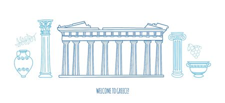 Vector modern illustration Travel to Greece. Parthenon, antique columns, vases. Greek symbols and landmarks. Horizontal city skyline scene for banner or card or design. Ilustrace