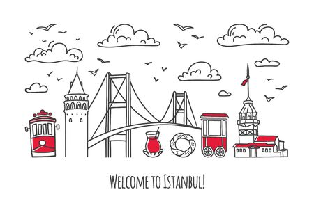 Vector modern illustration Istanbul. Galata and Maiden Tower, bridge and other famous Turkish symbols and landmarks. Travel to Turkey card design.
