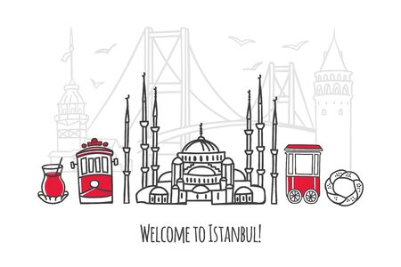 Vector illustration Welcome to Istanbul. Travel to Turkey concept. Travel design in modern line style. Famous Turkish landmarks for tourist card, poster, print design. Illustration