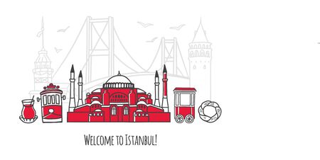 Vector illustration Welcome to Istanbul. Travel to Turkey concept. Travel design in modern line style. Famous Turkish landmarks for tourist card, poster, print design. Illusztráció