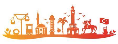 Horizontal vector illustration Izmir landmarks. Travel to Turkey concept. City skyline in red, orange, yellow gradient. Famous Turkish symbols, sights, landmarks.