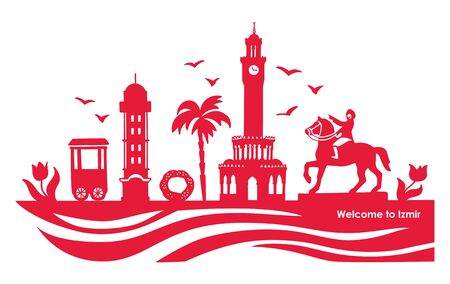 Vector illustration Izmir landmarks. Famous Turkish symbols. Travel to Turkey concept. City silhouette in red color. Horizontal banner or card design with hand drawn doodle elements. Illustration