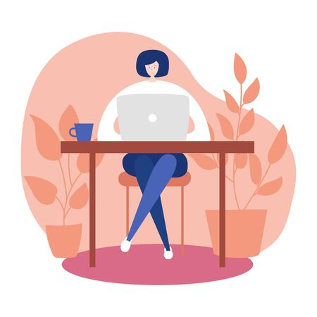 Vector illustration Work at home. Coronavirus quarantine lifestyle. Woman sitting on the floor comfortably and working online. Social distancing and self-isolation during Covid-19 outbreak.