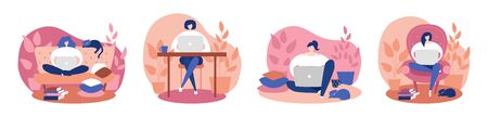 Set of illustrations Work at home. Women comfortably working on the laptop at home. Remote work during Covid-19 outbreak. Coronavirus quarantine lifestyle.