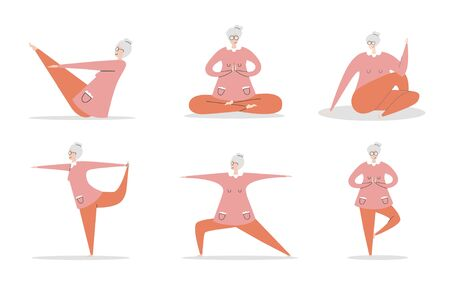 Set of flat vector illustration Senior Yoga. Cute grandmother in various positions. Active lifestyle for elder people. Meditation and yoga practise for adults. Ilustração Vetorial