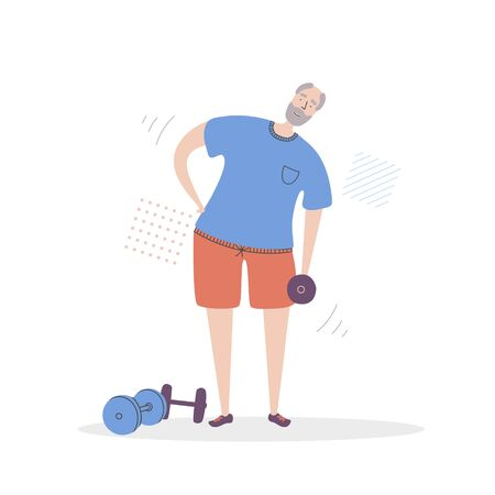 Flat vector illustration Senior Fitness. Smiling grandfather exercising with a dumbbell. Active lifestyle for elder people. Home and gym workout for adult men.