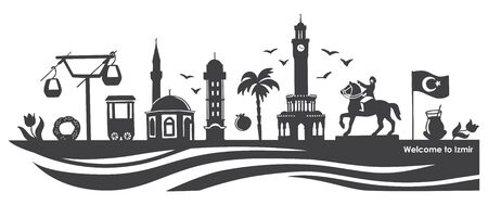 Vector illustration Izmir landmarks. Famous Turkish symbols.
