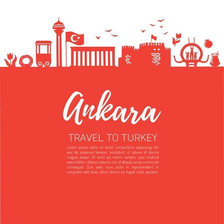 Ankara. Modern flat vector illustration of famous Turkish landmarks. Illustration