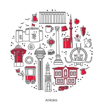 Line vector illustration Ankara, Turkey. Famous Turkish landmarks and symbols in the round composition on white