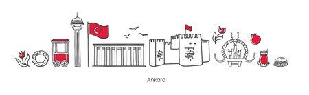 Vector illustration Ankara, Turkey. Famous Turkish landmarks in the row.