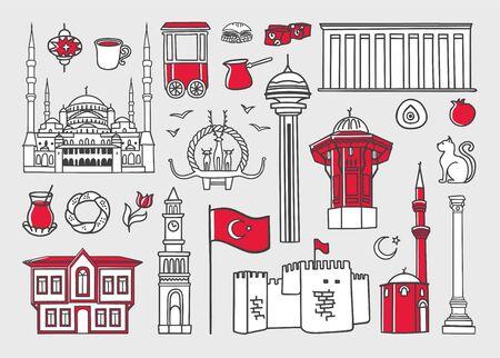 Set of vector clip art Symbols of Ankara, Turkey.