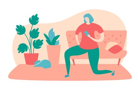Vector illustration Home fitness. Young woman watching video on her phone and doing lunge exercise. Online workout for women at home. Active lifestyle during quarantine period.
