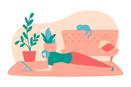 Vector illustration Home fitness. Young woman doing plank exercise at her home. Online workout for women. Active lifestyle during self-isolation and quarantine period.