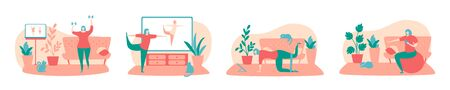 Set of vector illustrations Home fitness. Women working out while watching fitness video online. Exercising at home. Active lifestyle during self-isolation and quarantine period.