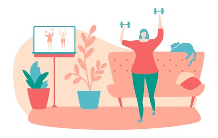 Exercising at home. Young woman doing shoulder press exercise at her apartment. Online fitness class on laptop. Working out with dumbbells. Active lifestyle during isolation and quarantine period.