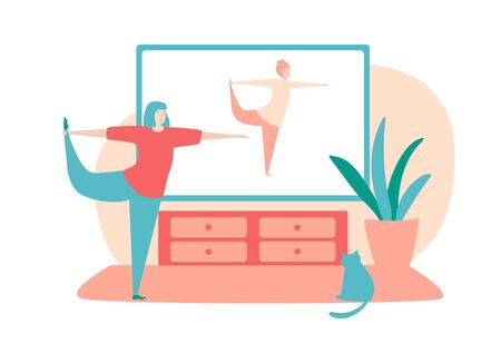 Vector illustration Home fitness. Young woman doing stretching exercise at her home. Girl in the standing position. Online workout for women. Active lifestyle during self-isolation period. Illustration