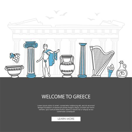 Welcome to Greece. Vector illustration of famous Greek symbols. Ancient columns, vases, and musical instruments. Travel to Greece landing page design. Vettoriali