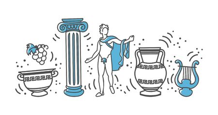 Vector illustration Greek landmarks. Famous symbols of Greece in a row. Hand drawn ancient column, sculpture, arpa, and vases. Travel card design in modern line style. Vettoriali