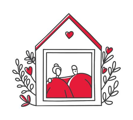 Vector line illustration Stay home. Cute house with flowers and a senior couple. Grandparents staying at home in the quarantine period. Self-isolation for elderly people during Coronavirus outbreak. Illustration