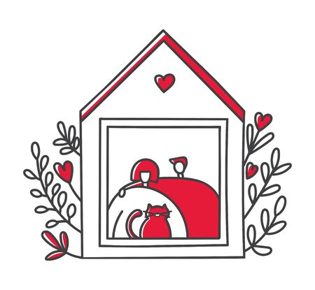 Vector line illustration Stay at home. Cute house with flowers and a happy couple. People staying home in the quarantine period. Self-isolation for adults and children during Coronavirus outbreak. 向量圖像