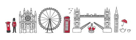 Vector illustration Symbols of London, the UK. Famous English landmarks in the row. Doodle Tower Bridge and Westminster Abbey. Horizontal skyline banner for souvenir print design or city promotion.