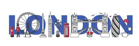 Vector illustration Symbols of London, the United Kingdom. Famous English landmarks and the city name behind. Horizontal skyline banner for souvenir print design or city promotion.