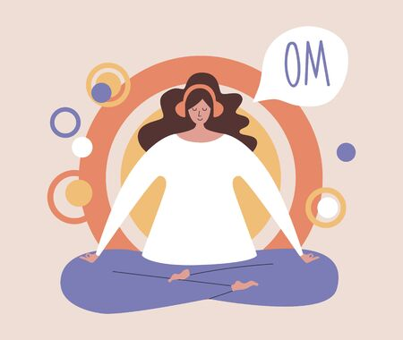 Woman meditating in the Lotus position and saying Om. Girl with the headphones practicing the guided meditation. Modern flat illustration on yoga topic.