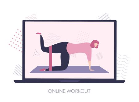 Online workout on the laptop screen. Woman makes glutes exercise with the resistance band. Video lesson on the Internet. Working out at home using computer. Modern flat illustration on home sports. 向量圖像