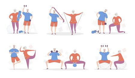 Set of vector illustration Senior Fitness. Happy grandfather and grandmother exercising together. Active lifestyle for elderly people couples. Collection of workout for adults scenes in flat style.