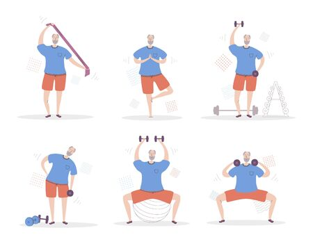 Set of vector illustrations Senior Man Fitness. Smiling grandfather exercising with sport equipment. Active lifestyle for elderly people. Collection of workout for old men scenes in modern flat style. Ilustração