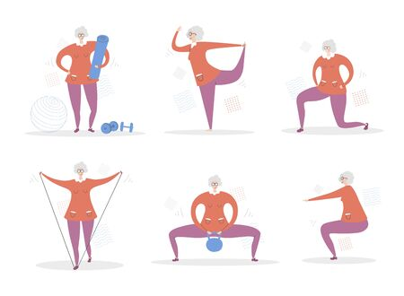 Set of vector illustrations Senior Woman Fitness. Cute grandmother doing exercises. Active lifestyle for elderly people. Collection of workout for adults scenes in modern flat style. Ilustração
