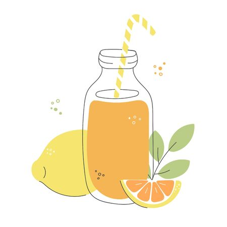 Fresh lemon and orange smoothie. Tall glass bottle with a straw, fruit and leaves. Refreshing summer drink in doodle style. Whimsical food illustration.