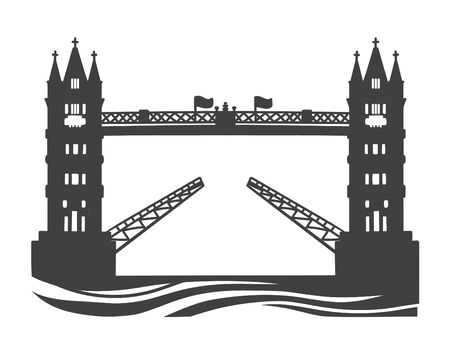 Vector illustration the Tower Bridge in London, the UK. Black silhouette of the famous British landmark. Hand drawn doodle object isolated on white background.