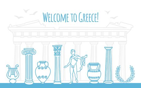 Vector illustration Welcome to Greece. Famous Greek symbols in line doodle style. Ancient columns, monument, and vases. Travel to Greece web banner and landing page design.