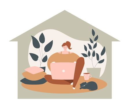 Vector concept illustration Stay home. Young girl sitting on the floor and using laptop. Remote work during Coronavirus outbreak. Freelancer lifestyle in self-isolation period.