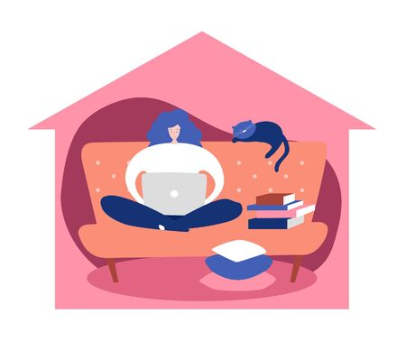 Vector concept illustration Stay home. Woman sitting on the sofa and working on the laptop. Remote work during Coronavirus outbreak. Freelancer lifestyle in self-isolation period.