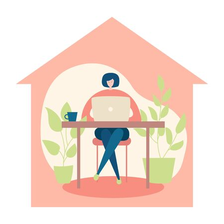 Woman working on her laptop from home. Stay home conception. Young woman sitting at the desk and working online. Comfortable workspace in the house silhouette. Vector flat illustration.