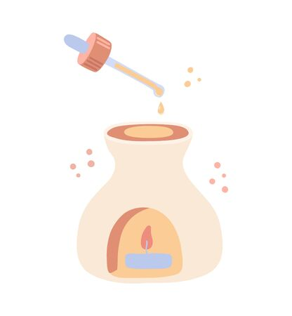 Vector illustration of Aroma lamp and dropper. Ceramic incense burner for the Aromatherapy. Glass pipette with the essential oil. SPA, Ayurveda, Aromatic therapy element.