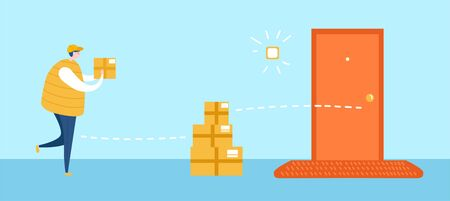 Drop off delivery service. Vector illustration on courier service during self-isolation and quarantine period. Delivery man leaves the boxes on the safe distance to the door. Social distancing concept.