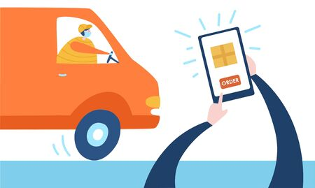 Vector illustration Order delivery from phone. Person makes purchase online and receives the boxes near apartment door. Safe express delivery service. Self isolation and quarantine lifestyle. Illustration