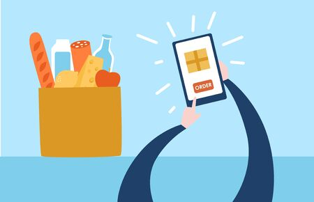 Vector illustration Delivery from a grocery store. Person ordering food online using a mobile phone. Hands with a smartphone and a paper bag with bread, cheese, milk, sausage and fruits.