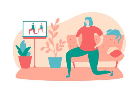 Vector illustration Home fitness. Young woman doing lunge exercise at her home. Online workout for women. Active lifestyle during self-isolation and quarantine period