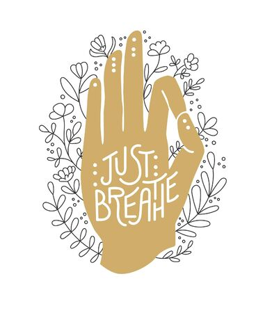 Just breathe. Golden hand in Gyan Mudra position. Palm in gold color with flowers and leaves. Hand in the meditating position and floral ornament. Yoga, meditation, and Pranayama practise design. Çizim