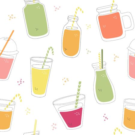 Vector seamless pattern with smoothie cups. Hand drawn glasses, jars and bottles with juice. Doodle summer drinks with straw. Bright colorful endless pattern design.