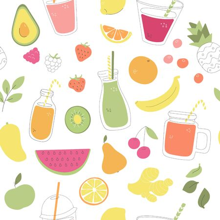 Vector seamless pattern with fruit smoothies. Whimsical fruits, berries, and glasses with summer drink. Healthy juice in glass bottles and jars. Wallpaper, print or background design. Illustration