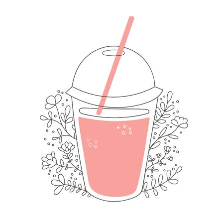 Fruity smoothie with decorative flowers. Take away cup with a straw and tasty drink. Beautiful glass with pink beverage and floral ornament. Vector illustration on food and drink in flat style.