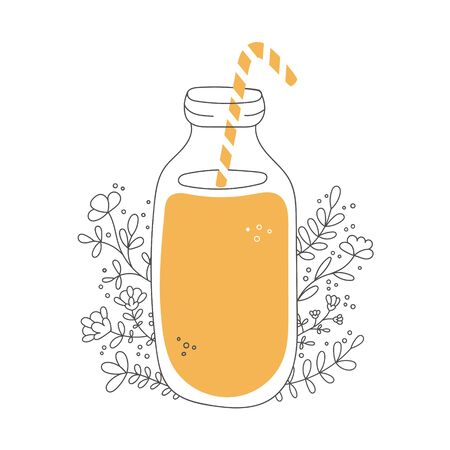 Fruity smoothie with decorative flowers. Glass bottle with a straw and tasty drink. Jar with orange beverage and floral ornament. Vector illustration on food and drink in flat style. Illustration