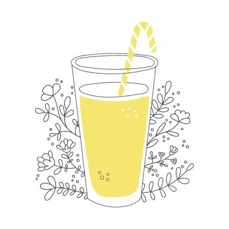 Fruity smoothie with plants and flowers. Tall glass with a straw and tasty drink. Cup of tasty summer beverage and floral ornament. Vector illustration on food and drink in flat style. Illustration